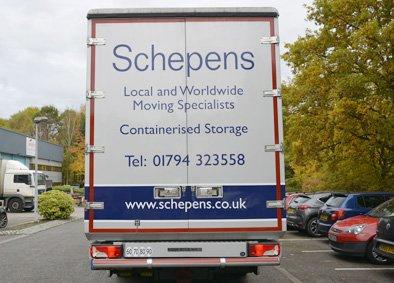 schepens fine art removal lorry